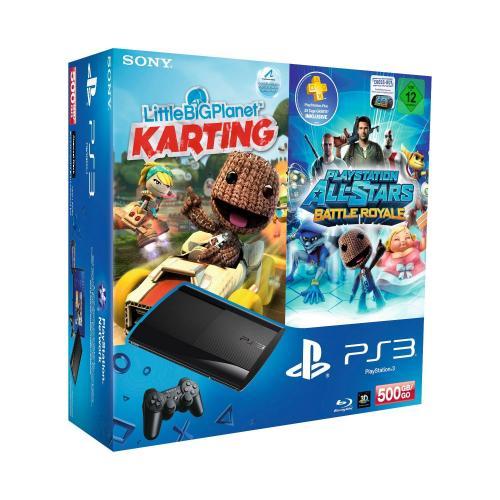 PlayStation 3 Konsole mit 500 GB + DualShock 3 Wireless Controller + LBP Karting + Battle Royal für 259,97 bei Amazon