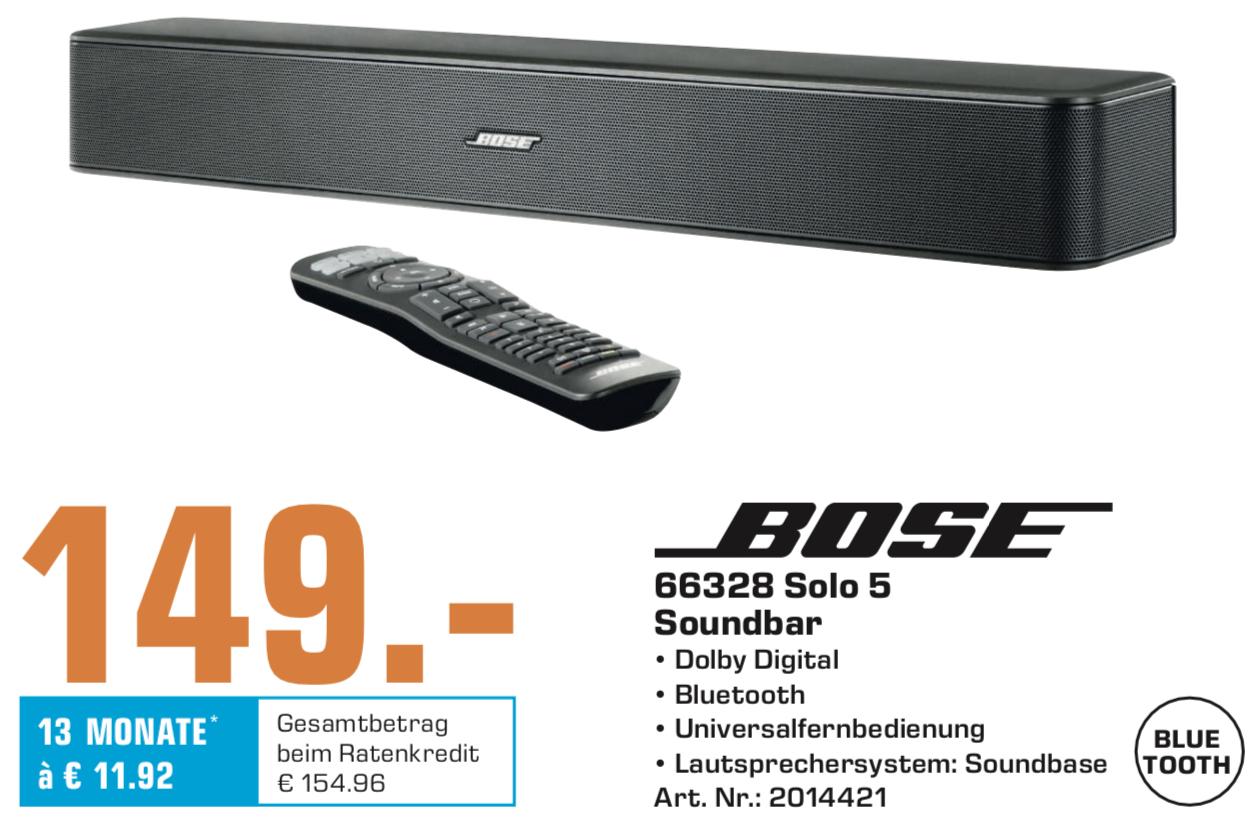 Lokal Saturn Stuttgart u. Esslingen: Bose Solo 5 Soundbar für 149€