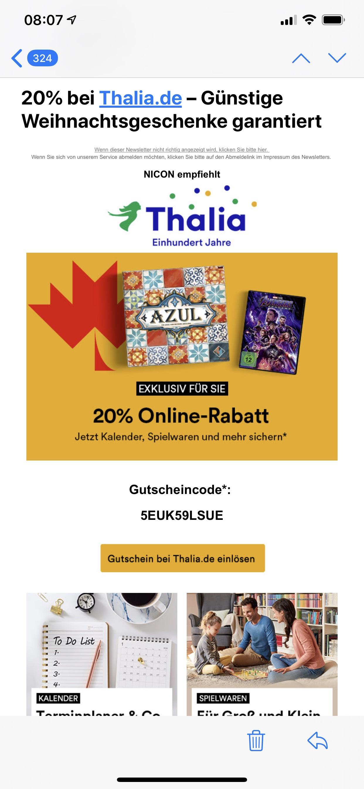 20% bei Thalia.de auf Kalender, Spielwaren, Filme und Hörbücher
