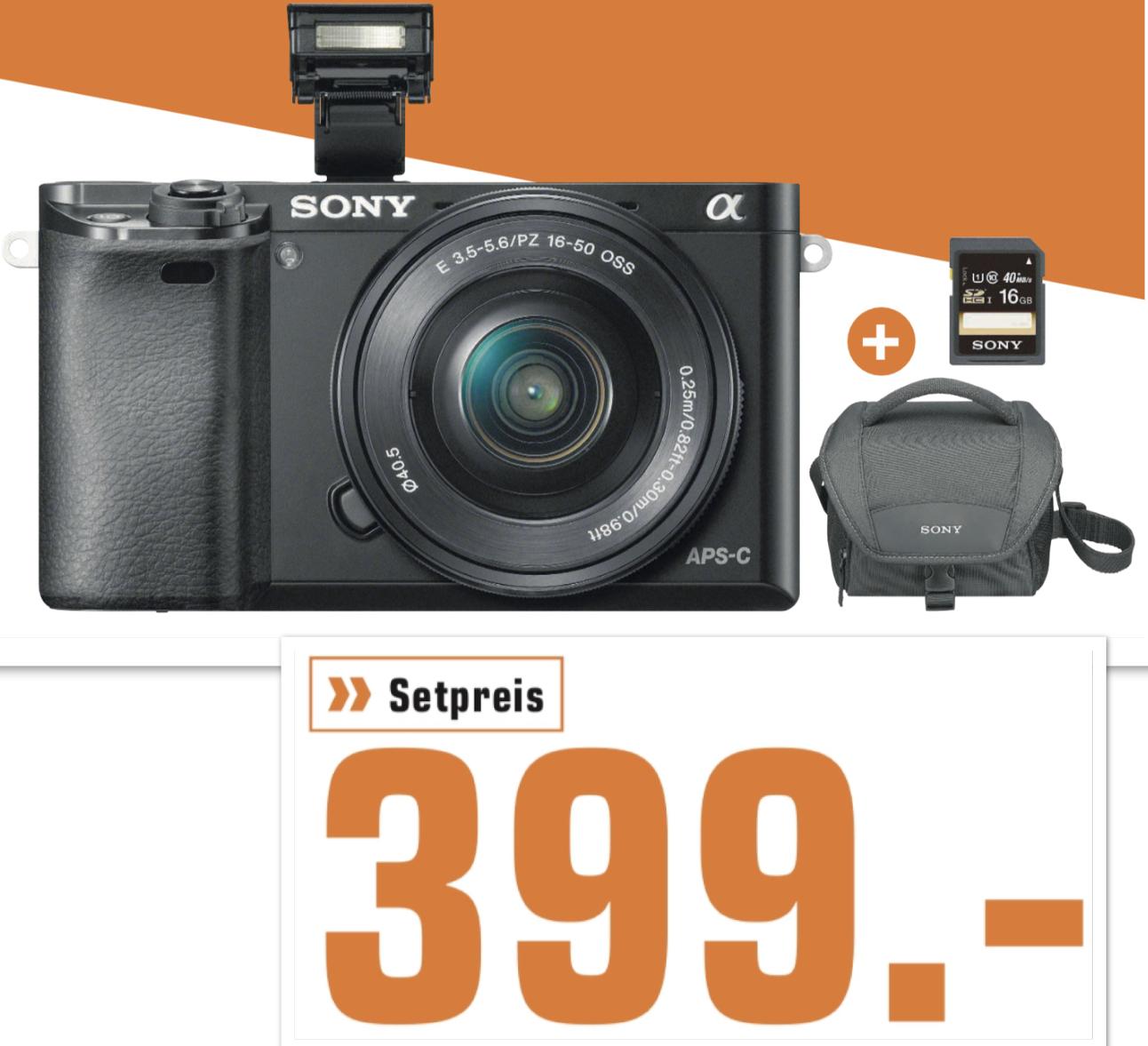 Lokal Saturn Osnabrück: Sony Alpha 6000 L Kit 16-50mm + Sony Bag Black Tasche + Speicherkarte für 399€