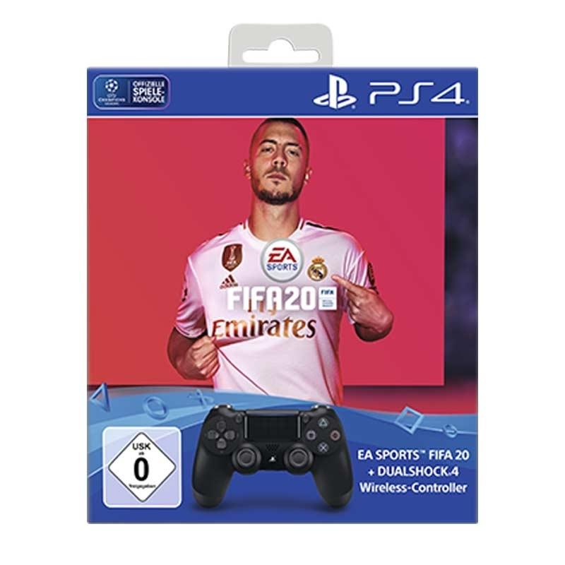 [RAKUTEN] PS4 SONY DUALSHOCK 4 Wireless-Controller Jet Black + EA Sports FIFA 20 Bundle