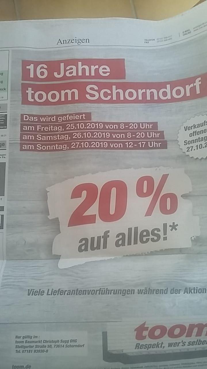 Toom Baumarkt Lokal Schorndorf 20%