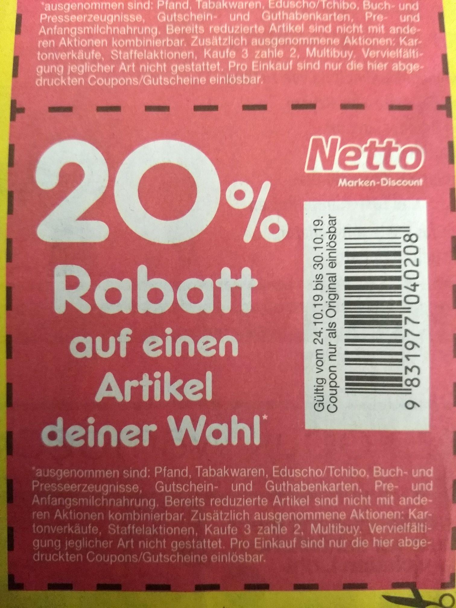 [Lokal Magdeburg Bundesweit?] Netto Marken-Discount Reduziere selber 5% 10% 20% vom 24.10.-30.10.2019