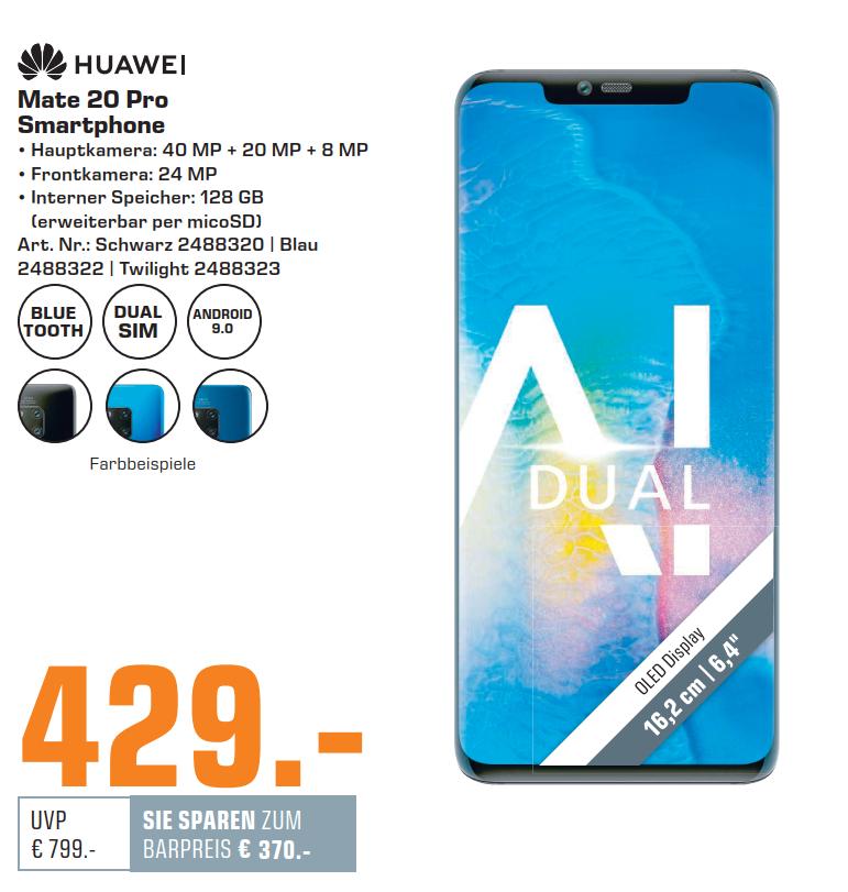 "[Saturn HH und Norderstedt] Huawei Mate 20 Pro, 6,39"", 3120x1440, 6GB RAM, 128 GB Kirin 980, Android 9"