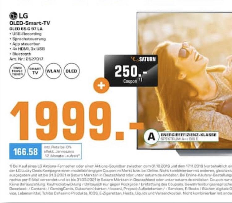 [Lokal Saturn Marl] OLED LG 65C97 für 1999,- inkl. 250€ Saturn Coupon