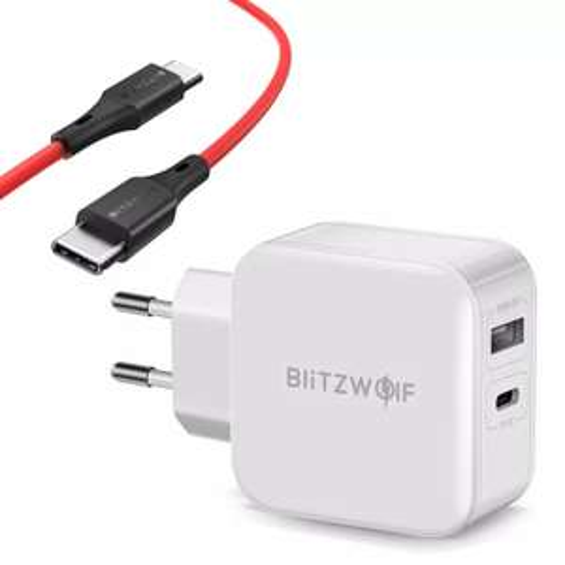 BlitzWolf BW-S11 30W Type-C PD/QC3.0+2.4A Dual USB Charger EU Adapter + BW-TC17 3A USB