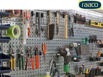 Werkzeugwand Raaco mit 4 Platten und 38 Haken Werkzeug Set Metall Wand Werkstatt