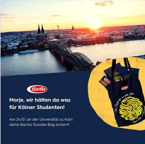 *Lokal Köln/Freebie* Barilla Goodie Bag an der Uni Köln