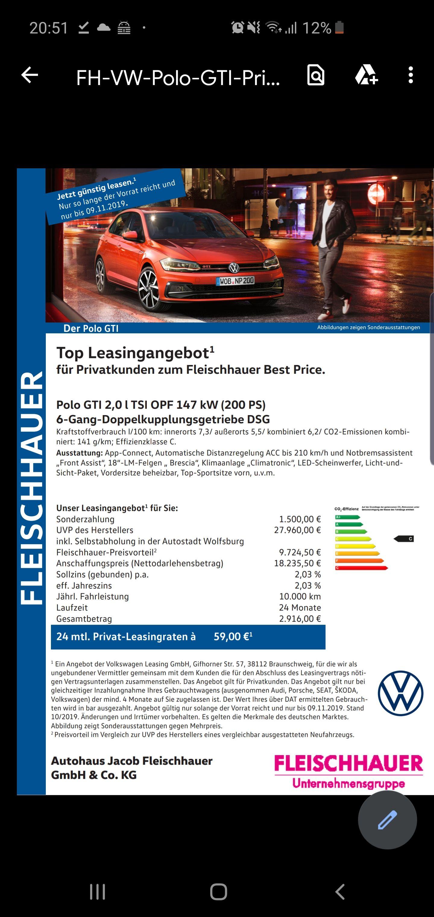 VW Polo GTI - Privatkunden Lsasing - Leasingfaktor 0,43 - Anzahlung/Inzahlungnahme notwendig