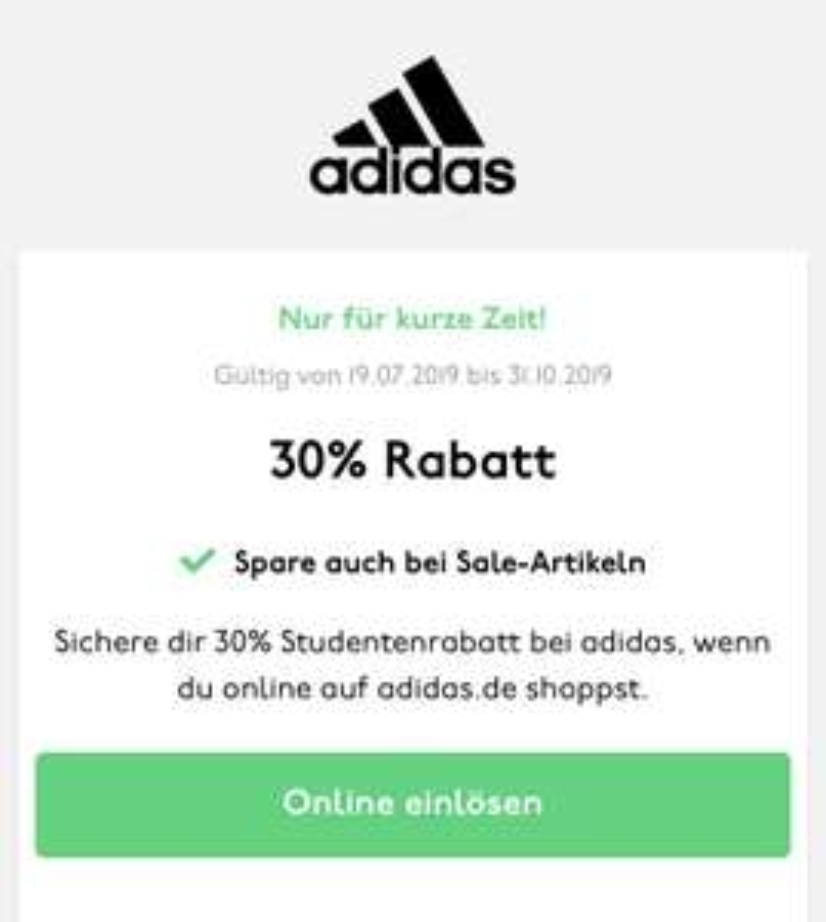 adidas 30% zusätzlich auf Sale - Studentenrabatt per Unidays