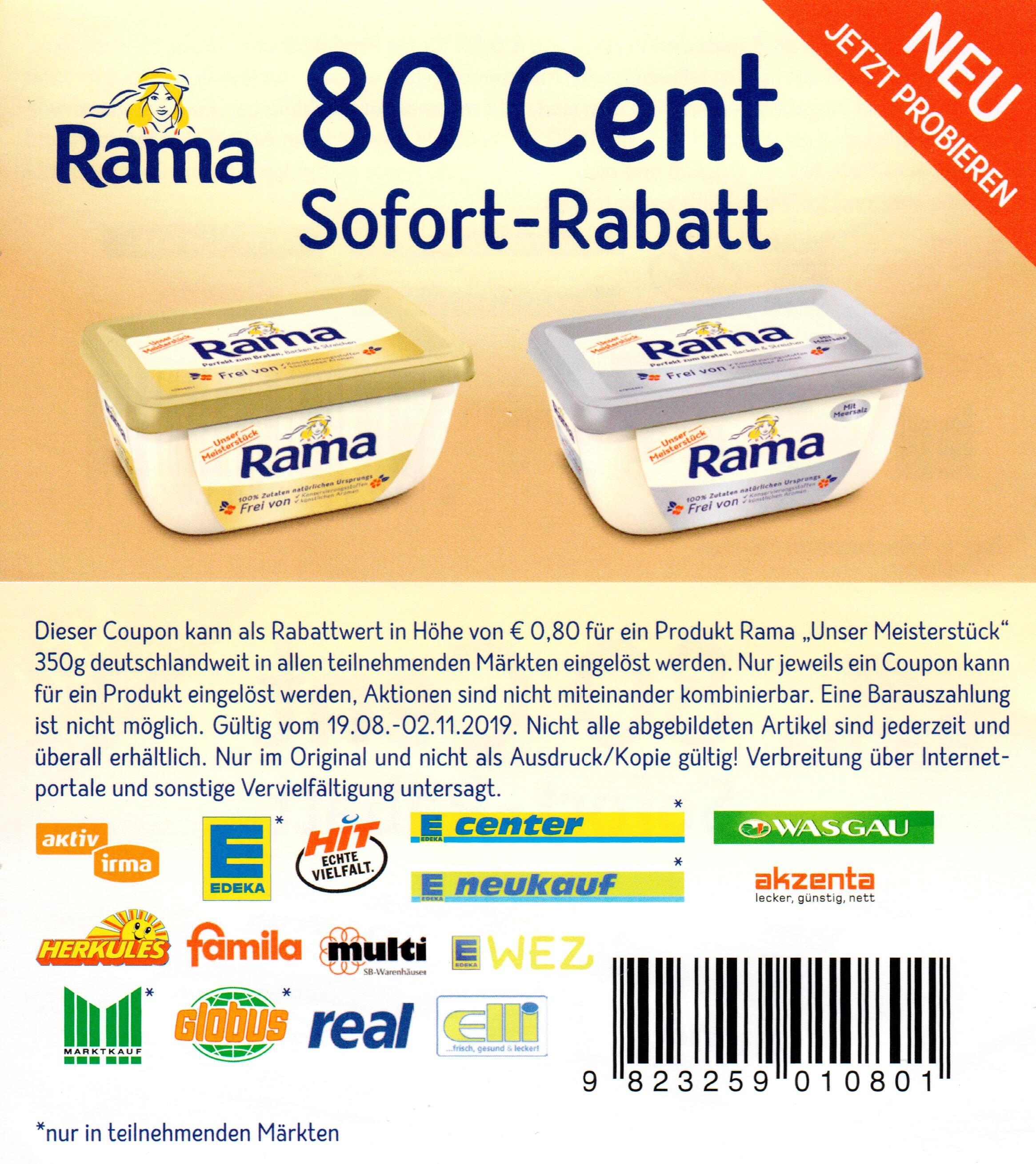 """0,80€ Coupon für den Kauf von Rama """"Unser Meisterstück"""" 350g"""