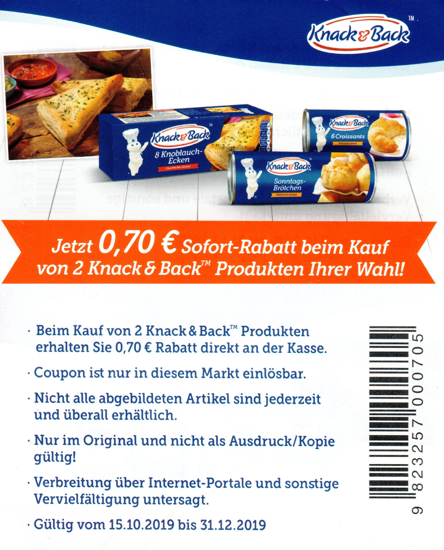 0,70€ Rabatt Coupon für 2x Knack & Back Produkte nach Wahl bis 31.12.2019