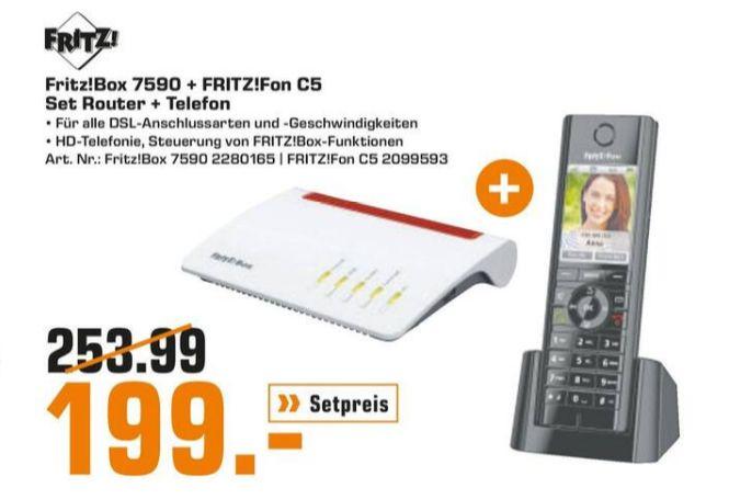 [Regional Saturn Bielefeld/Paderborn) Router AVM FRITZ!Box 7590 + AVM FRITZ!Fon C5 für 199,-€