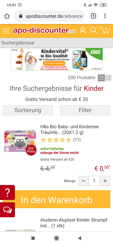 H&s Bio Baby- und Kindertee Träumfein Filterbeutel (20X1.2 g)