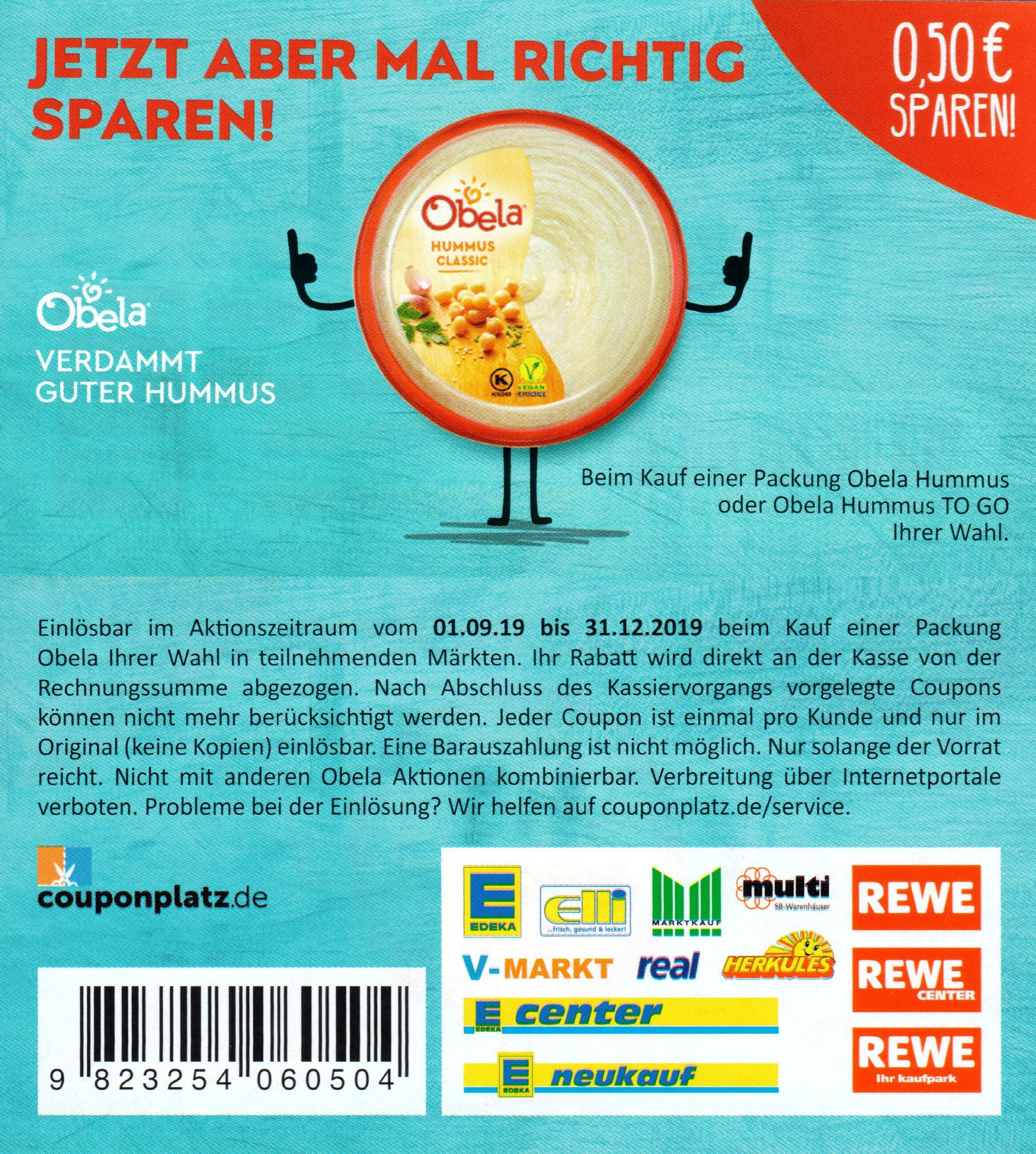 0,50€ Rabatt Coupon für den Kauf von Obela Hummus bis 31.12.2019