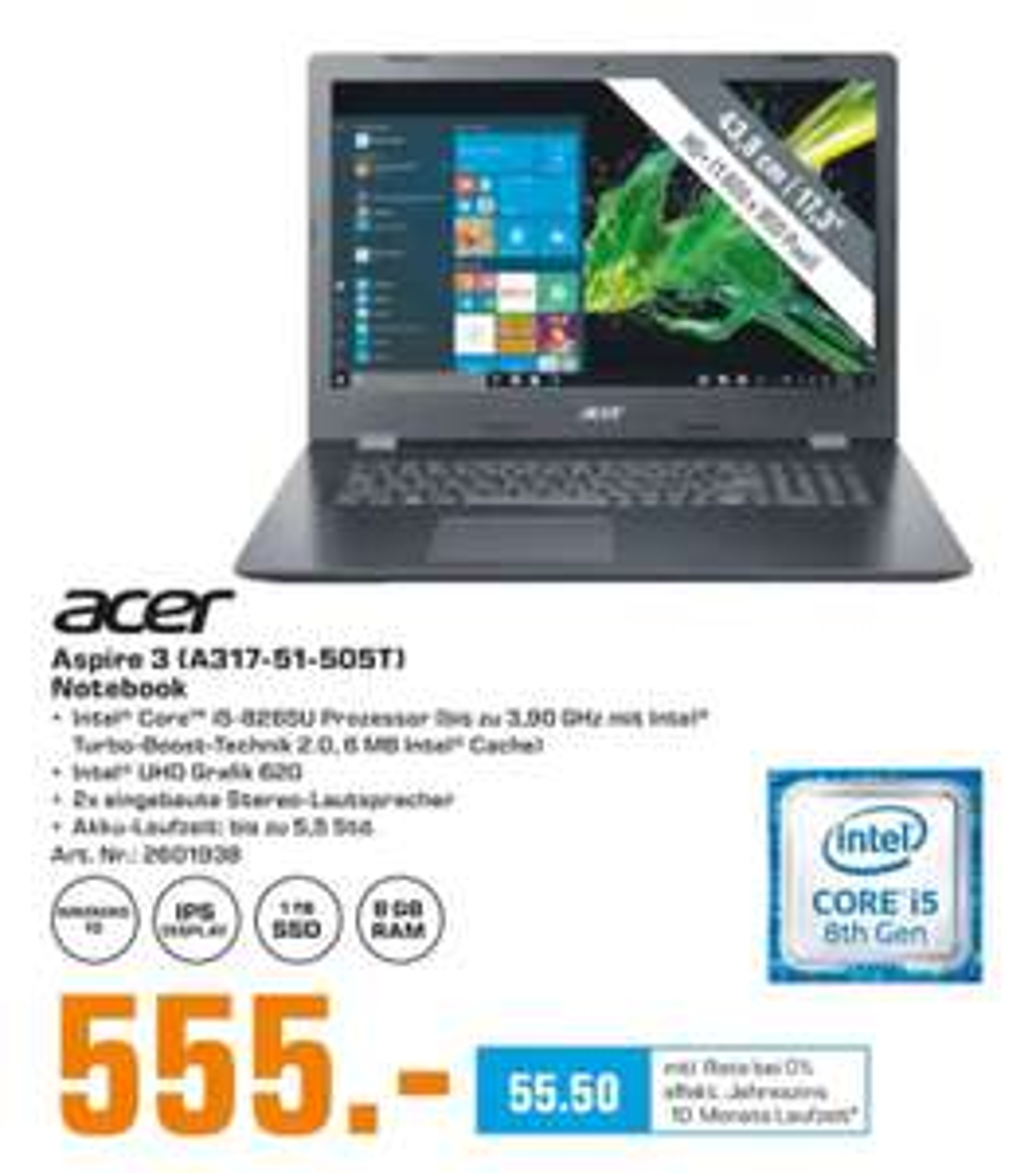 Acer A317-51-505T mit 1TB SSD