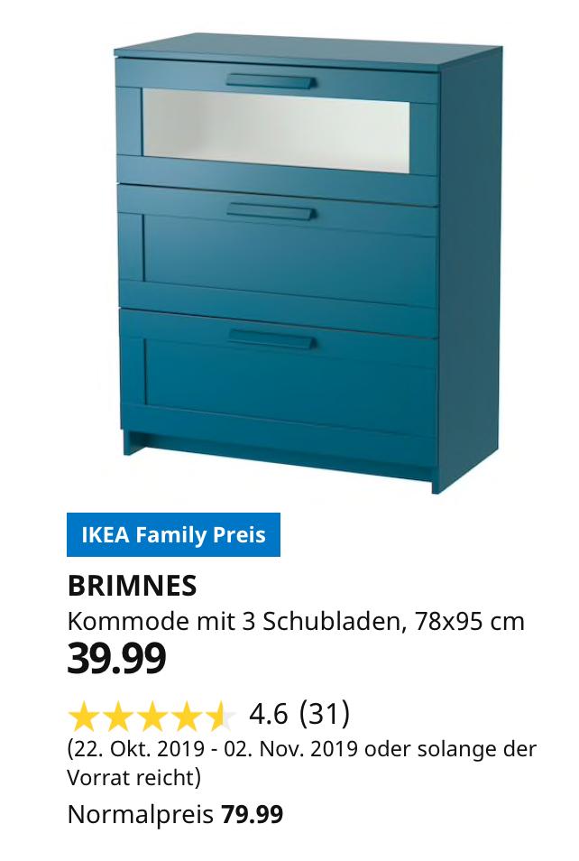 (IKEA Köln-Am Butzweilerhof) BRIMNES Kommode mit 3 Schubladen, dunkel grünblau, Frostglas, 78x95 cm