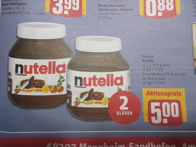 REWE  Center- 2 x 750gr  Nutella kaufen 5 Euro zahlen / kg Preis 3,33 Euro