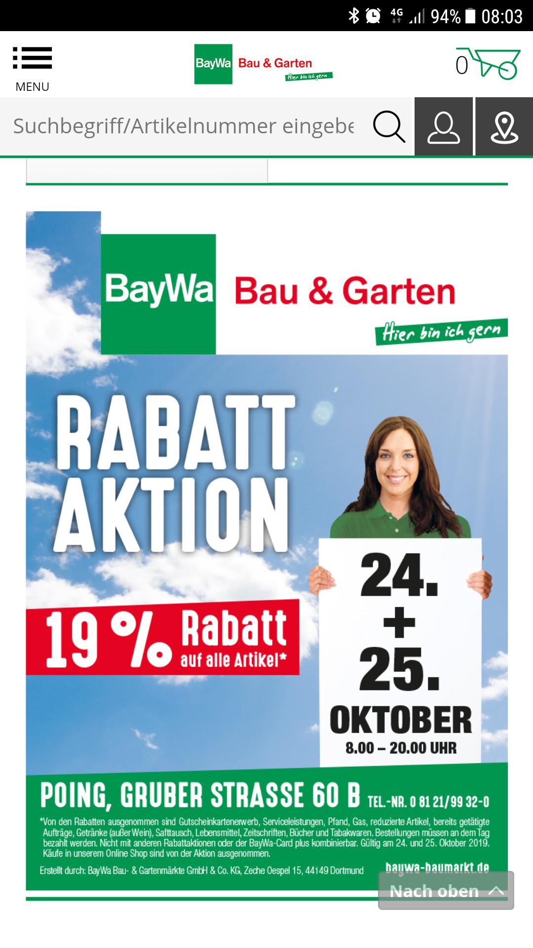 [Lokal & offline] Baywa 19% Auf fast alles! Nur noch bis 25.10.