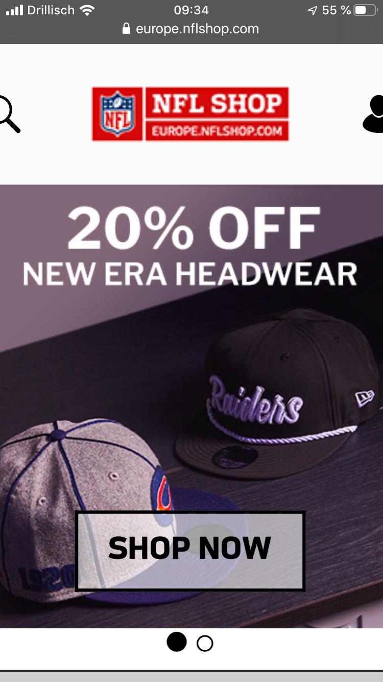 20% auf New Era Headwear im NFL Shop Europe