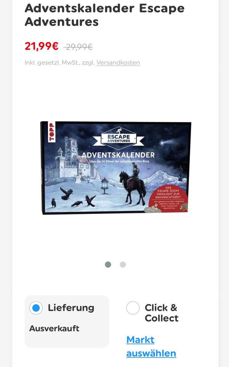 [OFFLINE] Topp Escape Adventure Adventskalender per Click &Collect
