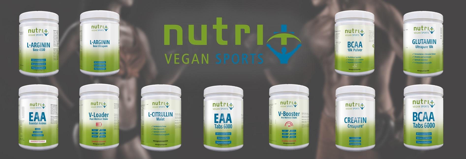 Sportsupplements (Creatin Arginin BCAA EAA Booster Glutamin Omega 3 ...) & Proteinpulver auf pflanzlicher Basis - Muskelaufbau Vegan
