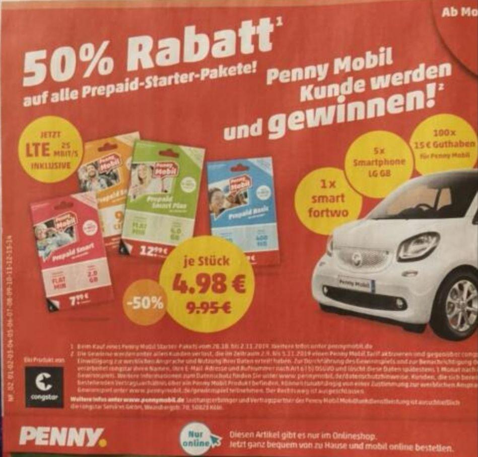 Penny Mobil: 50% Rabatt auf das Starterpaket ab 28.10.