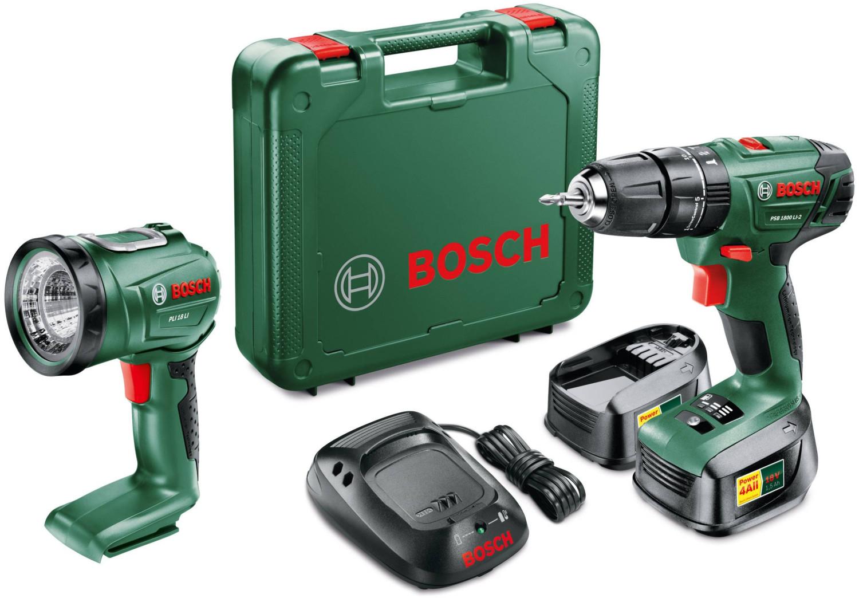 Bosch PSB Expert Li 2 Schraubendreher Bohrmaschine 2 Akkus 1,5 Ah 18 Volt + Universallampe