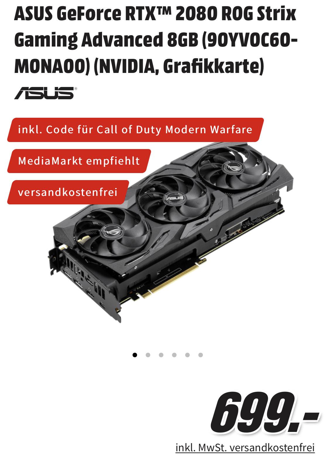 Nvidia Asus RTX 2080 Strix Advanced 699€ bei Media Markt/Saturn inkl CoD Code