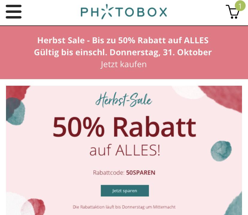 50% auf alles bei Photobox.de