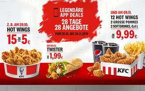 "KFC ""Legendäre App Deals - 28 Tage - 28 Angebote"" vom 28.10. - 24.11. z.B 15 Hot Wings 5€, Zinger / Filet 1,99€ (Kentucky Fried Chicken)"