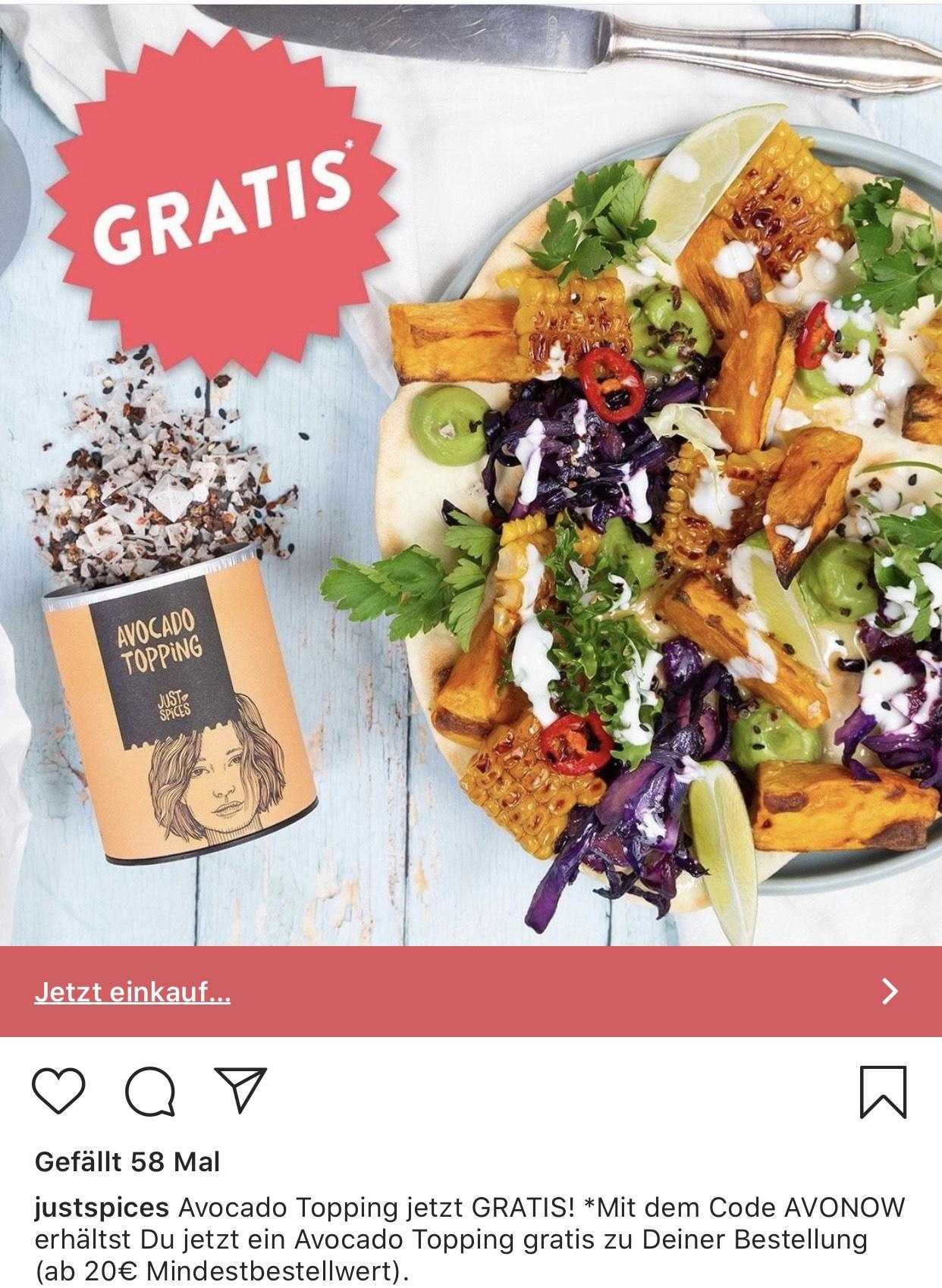 bei einer bestellung ab 20€ bei justspices gratis gewürz