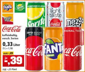 [Thomas Philipps] Coca Cola [Zero/ligth taste], Mezzo Mix, Sprite, Fanta Dosen 0,33L für 0,39€ + Pfand bis 02.11.2019