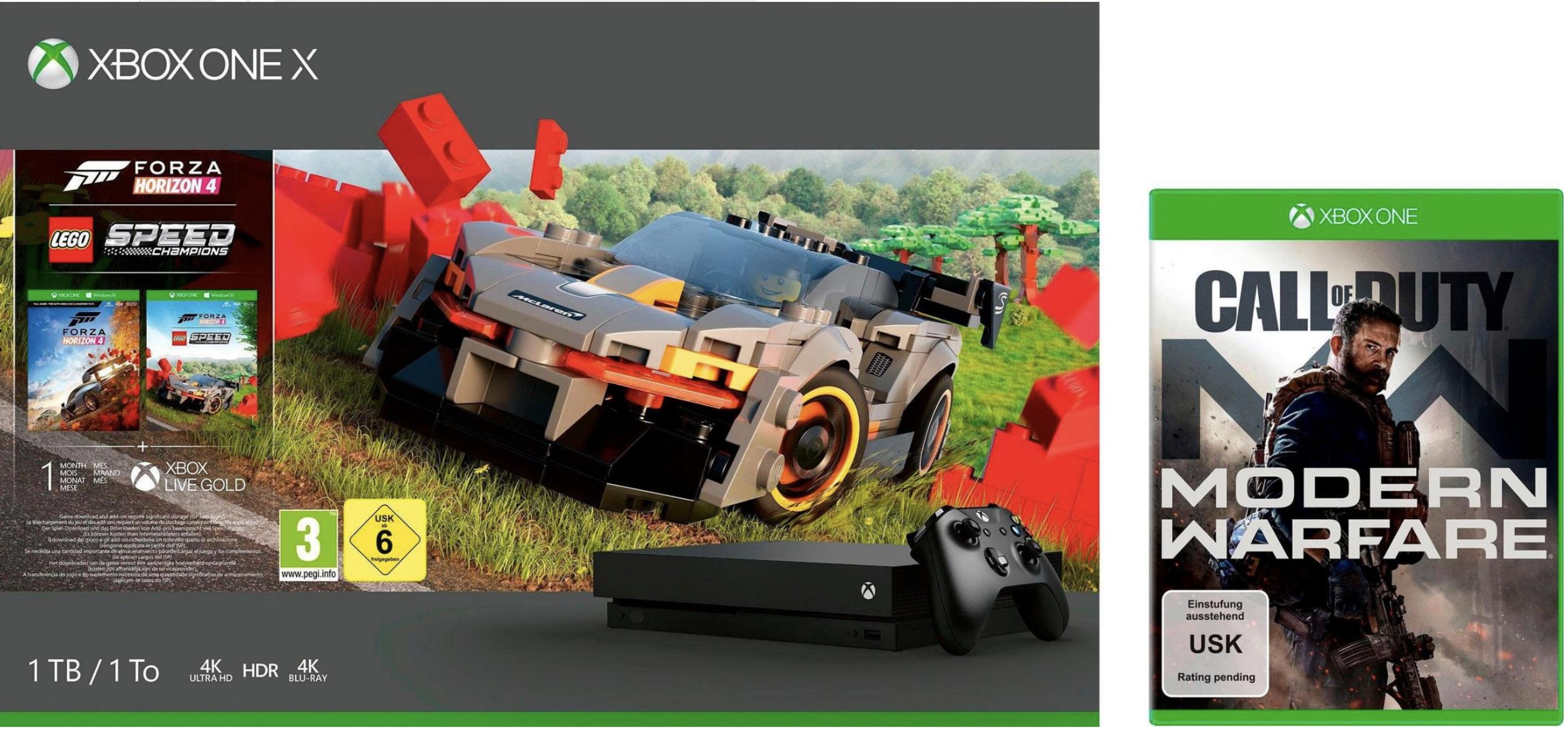 Microsoft Xbox One X 1TB Forza Horizon 4 Lego Bundle + Call of Duty Modern Warfare für 328,02€ inkl. Versandkosten / Schwab Bestandskunden