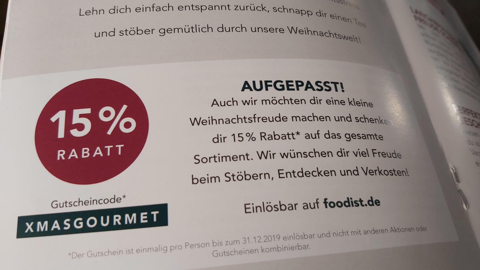 15 Prozent Rabatt auf alle Bestellungen bei foodist.de