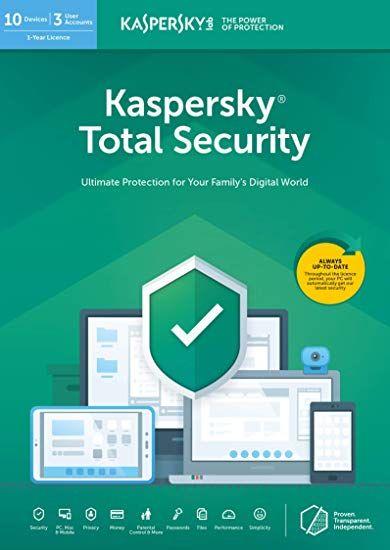 Kaspersky Total Security 2020 für 1, 3 oder 5 Geräte für 1 oder 2 Jahre zum downloaden (Rakuten)
