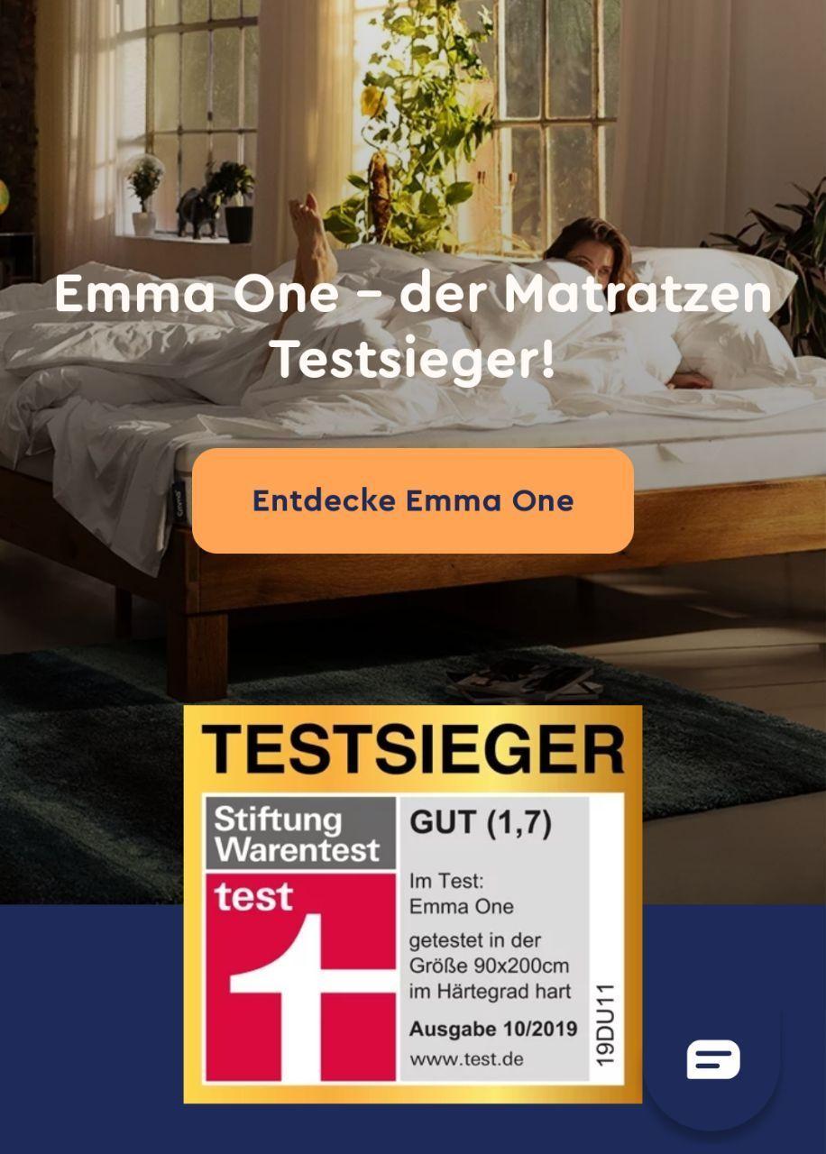 2019 Stiftung Warentest Sieger EMMA ONE Matratze! Weitere Rabatte: Newsletter-2%, ggf. KwK -50€, ggf. CB Gutschein 35% statt 27%