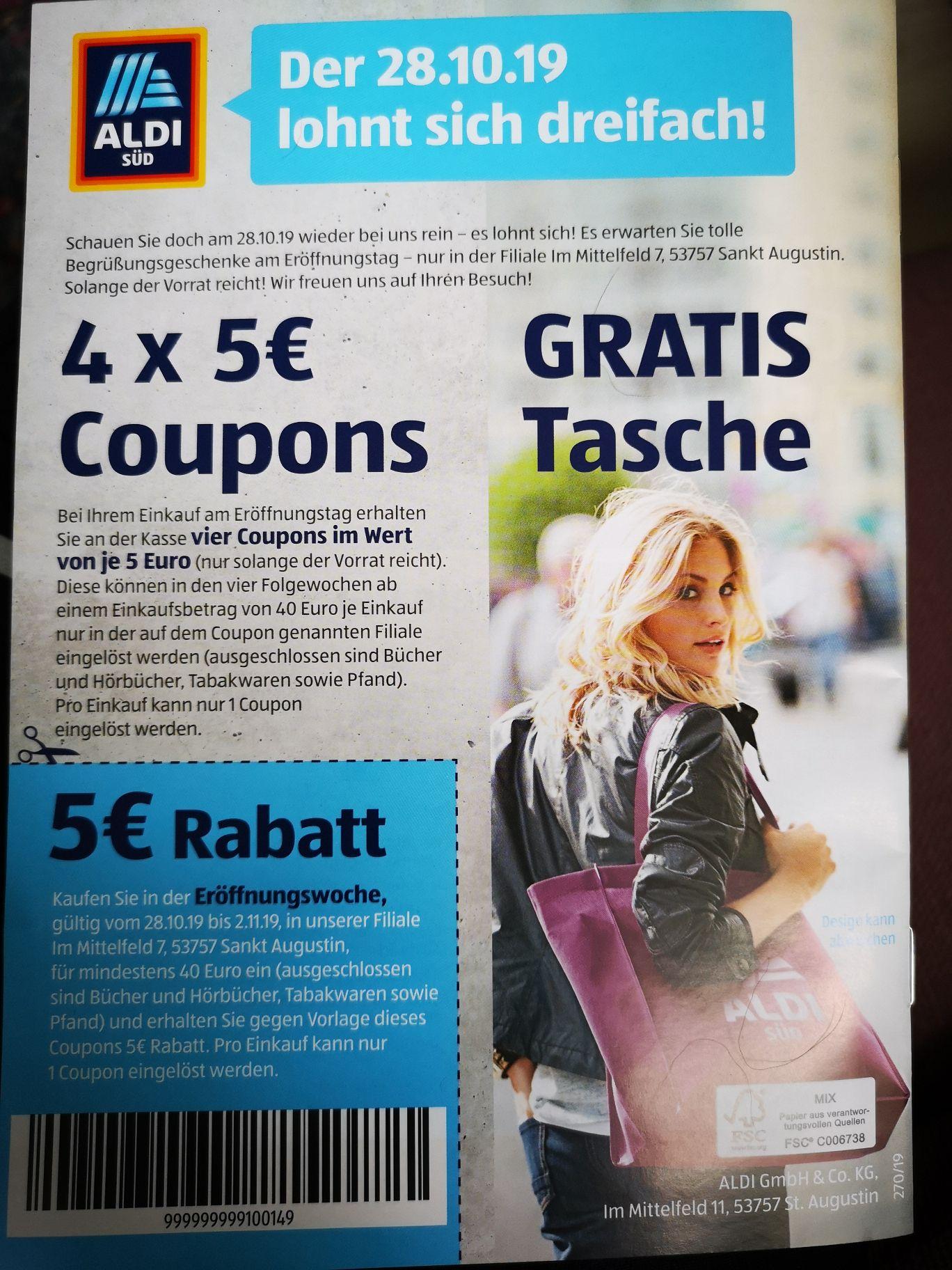 (Lokal Sankt Augustin) [Aldi Süd] Coupons 4 x 5€ am 28.10.19
