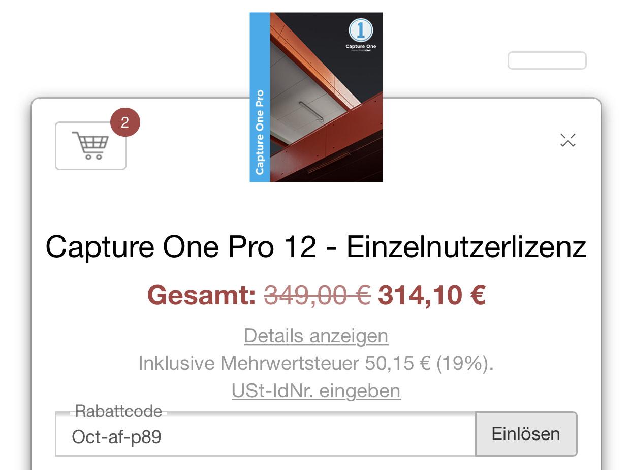 Capture One Pro 12 -10% & Capture One Pro 20 gratis