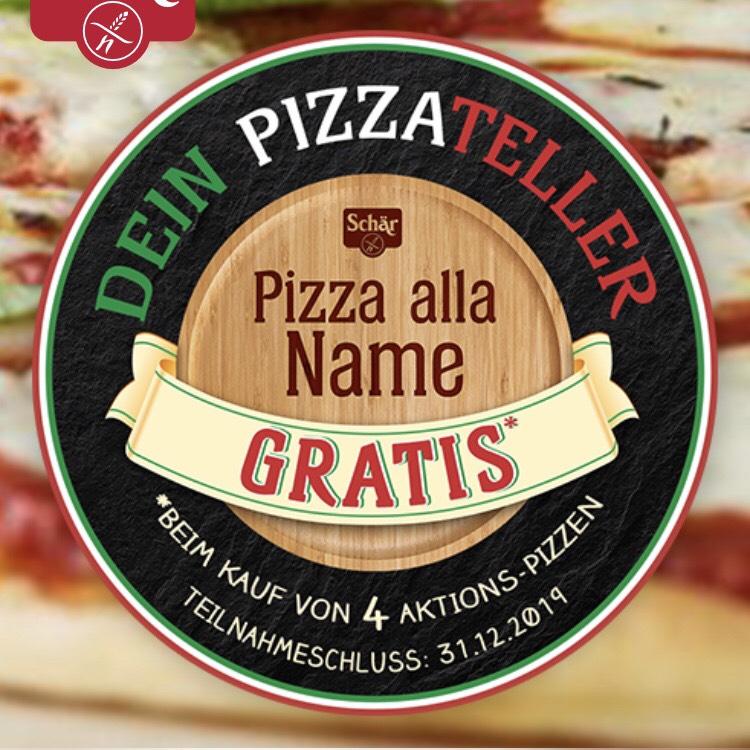 GRATIS personalisierter Pizzateller beim Kauf von 4 Schär Pizzen (13,80€)