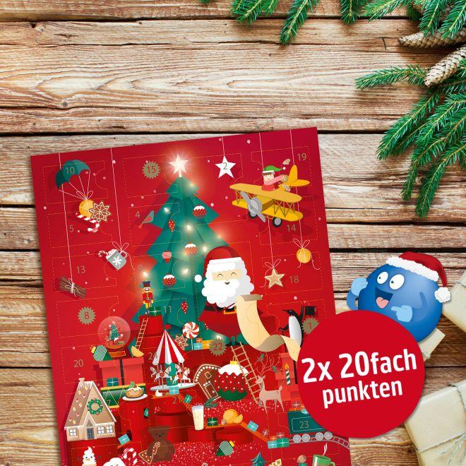 REWE Adventskalender mit Hachez Pralinen und Schokoladen und 2x20fach PAYBACK Punkte Coupon (mit App Coupon für 7,21€)