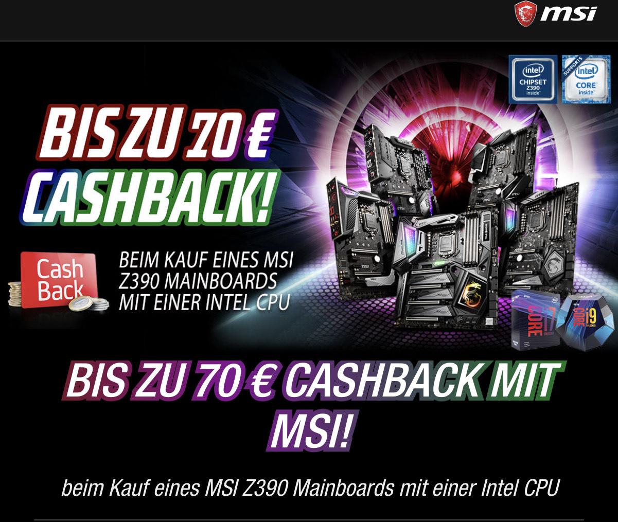 MSI bis zu 70€ Cashback