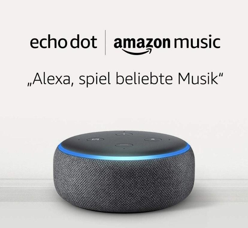 Echo Dot (3rd Gen), Anthrazit Stoff + 1 Monat Amazon Music Unlimited für 10,98€ (9,99€/Monat danach) / Nur Music Unlimited NEUKUNDEN