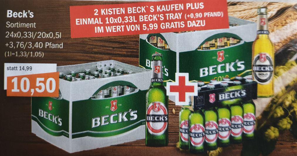 LOKAL - Oldenburg und umzu / aktiv irma (ab Mittwoch): 2 Kisten Beck's + 10er-Pack Beck's zusammen nur 21,- Euro.