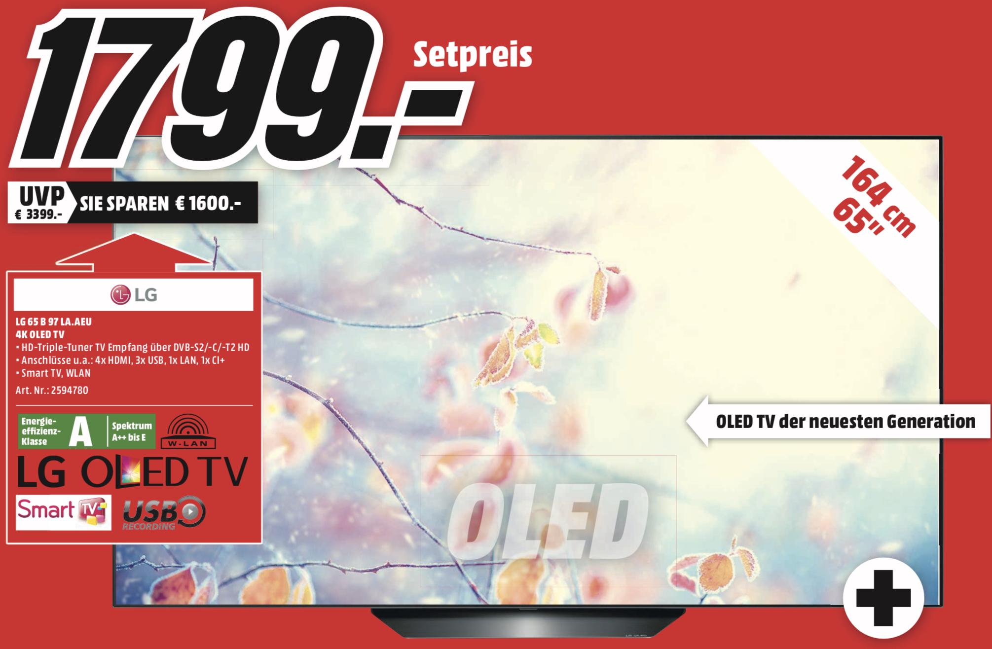 Lokal MM Regensburg usw.: LG OLED65B97LA 164cm 4K UHD OLED TV für 1799€ + 150€ Geschenk-Coupon