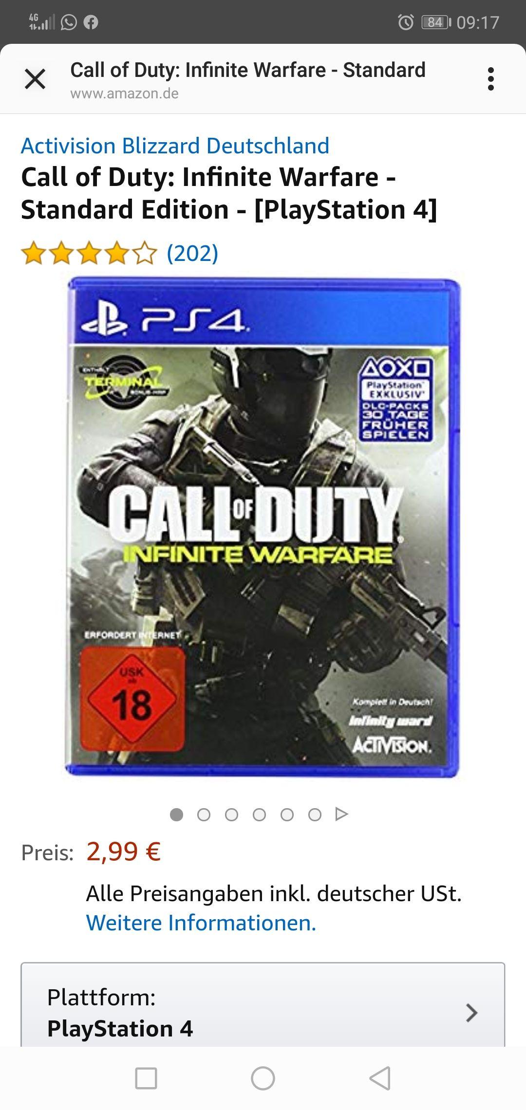 Amazon Prime - CoD Infinite Warfare für PS4 - ohne Prime 5€ Versand