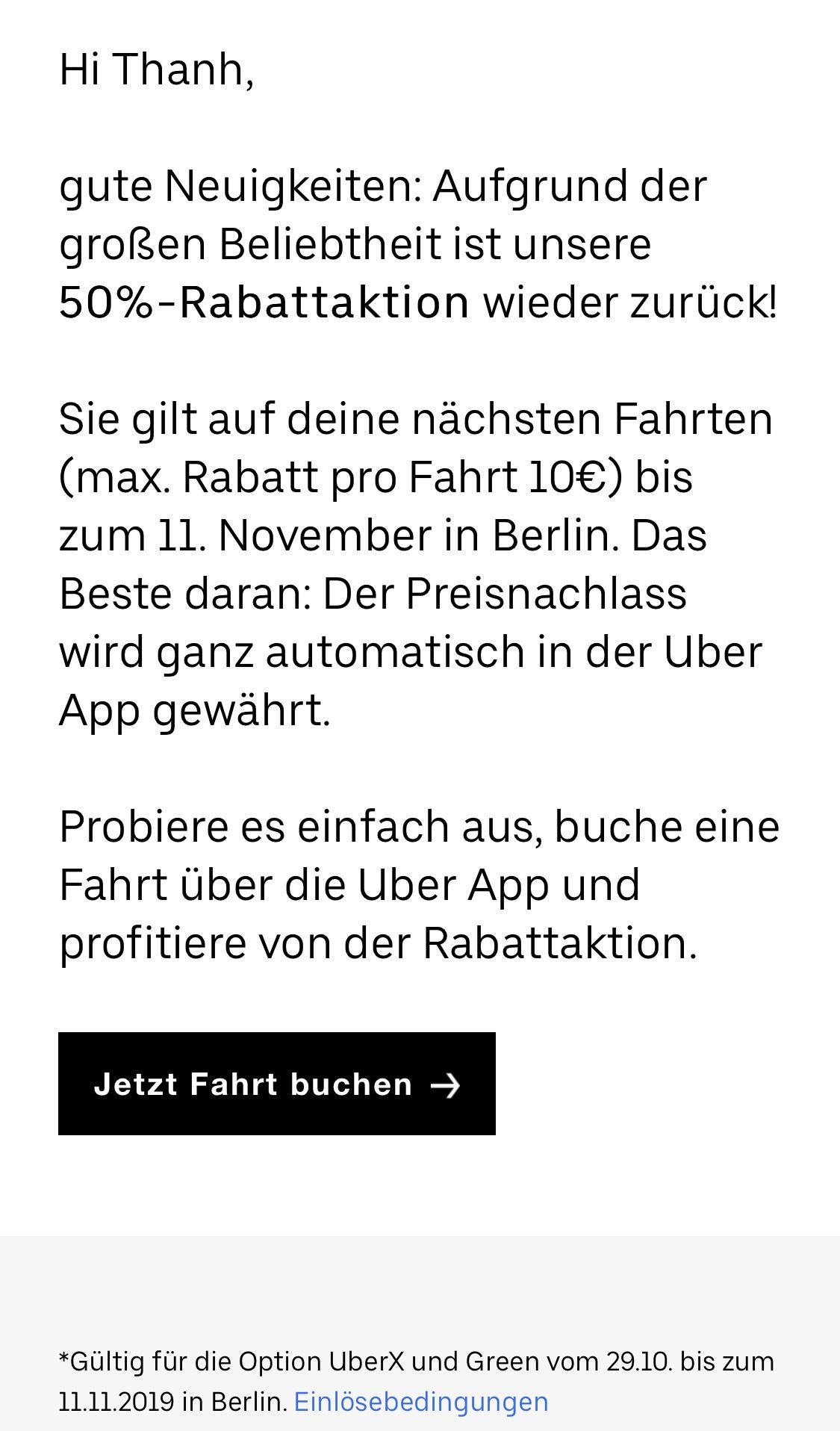 Local Berlin - UberX 50% Aktion ist zurück