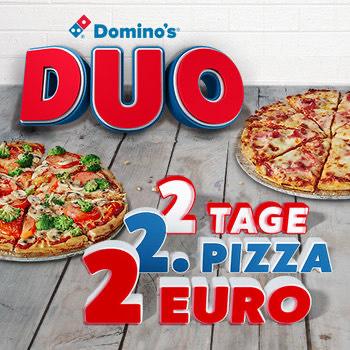 Dominos Duo 2te Pizza nur 2€ nur Medium und Klassik (nicht für Aktionspizzen)