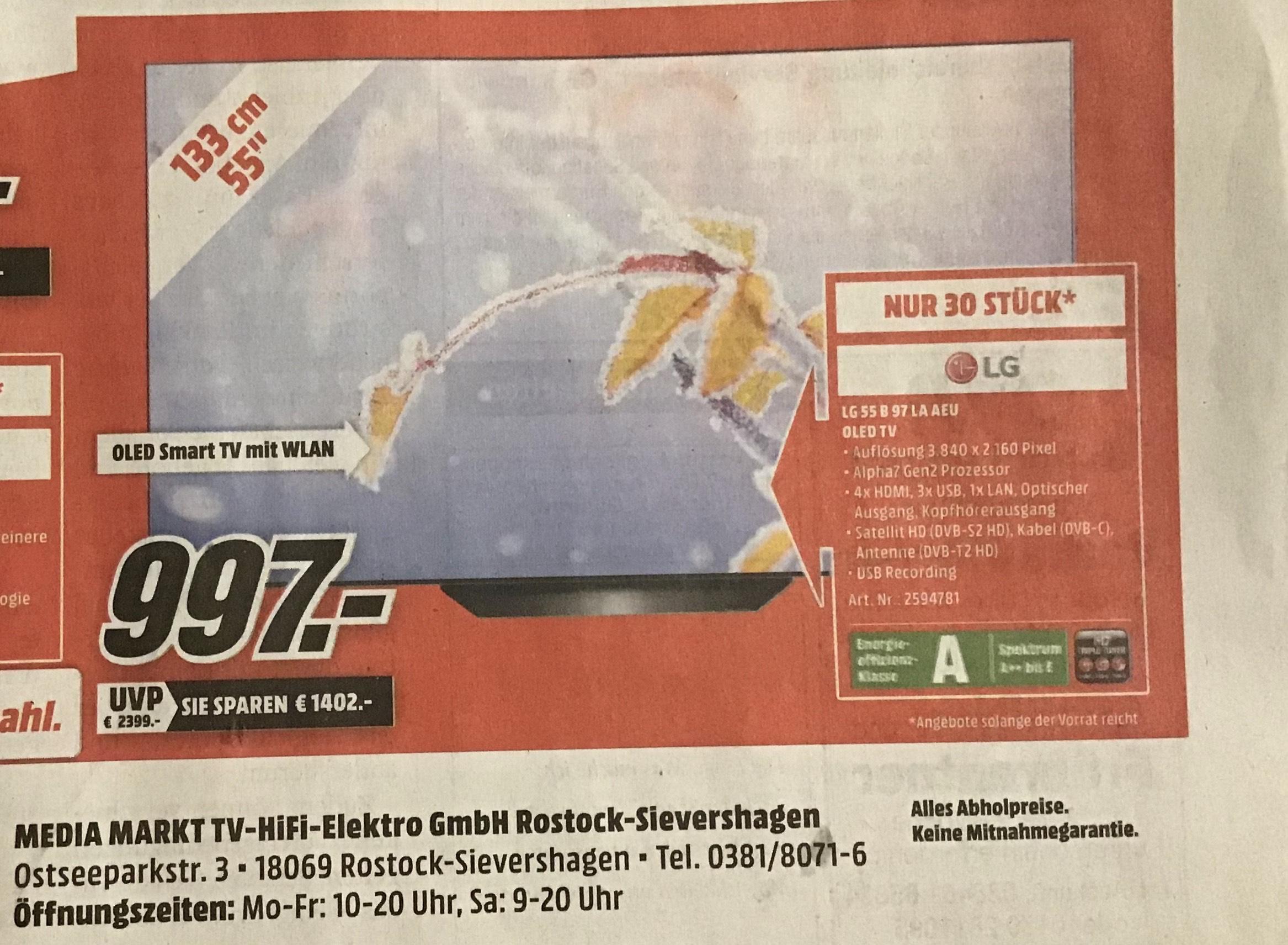 "LG OLED 55"" B97LA am Sonntag im Media Markt Rostock Sievershagen"
