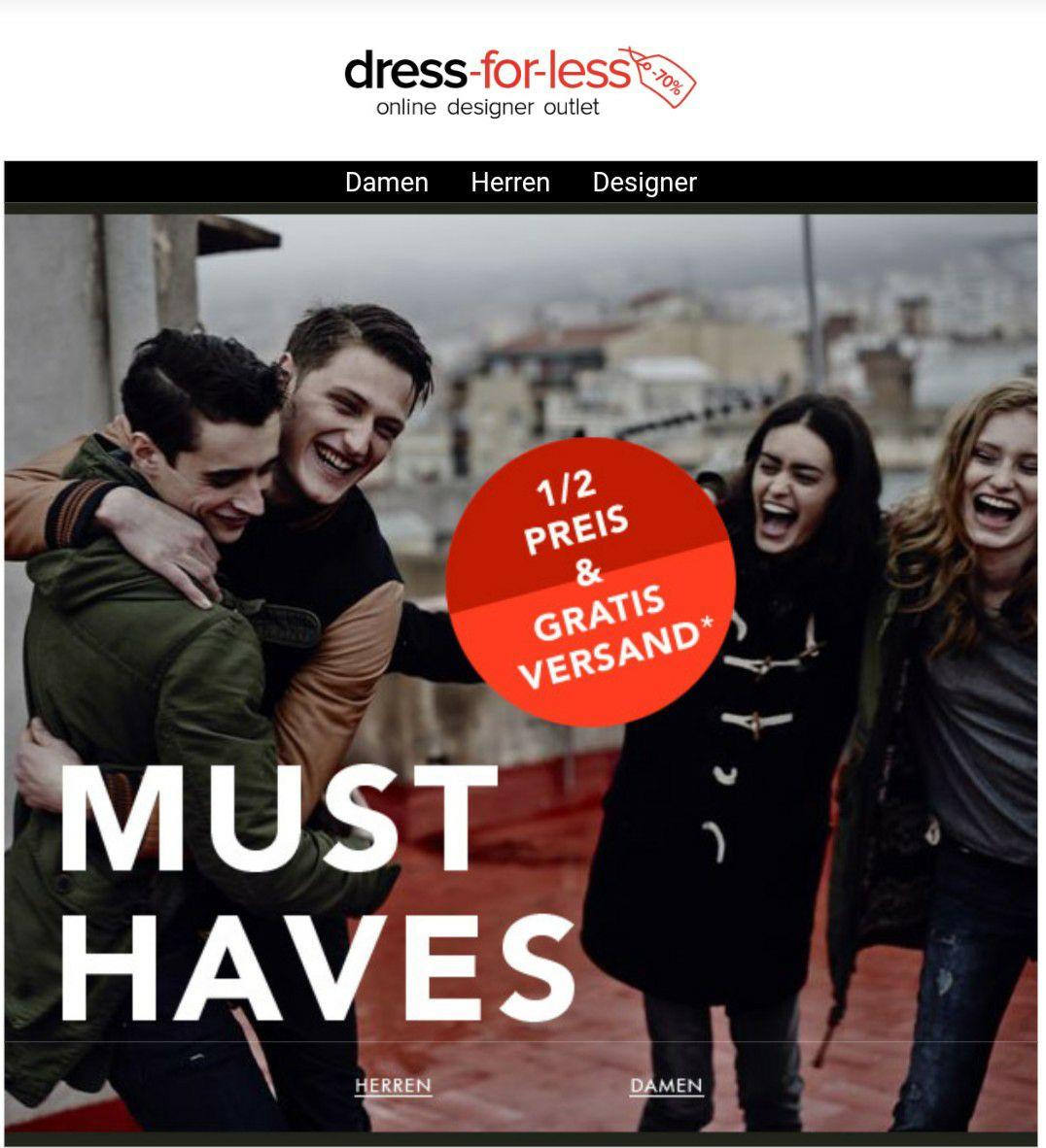 Dress-for-less 50% und versandkostenfrei